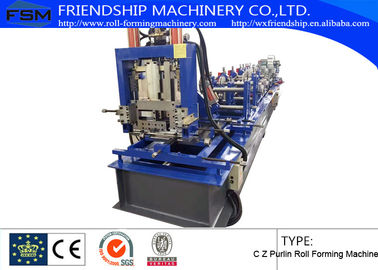 Hydraulic Punching and cutting C Z Purlin Roll Forming Machine With 15m/min