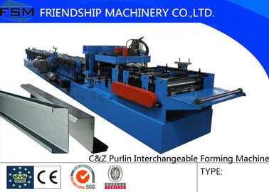 Automatic Pre-punching C Z Purlin Roll Forming Machine With Post-cutting Progress