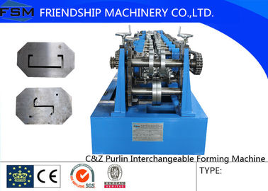 China 7.5KW C Z Purlin Roll Former Machine With Automatic Punching And Cutting Device supplier