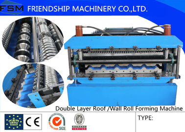 Roof Double Layer Roll Forming Machine With 0.3mm - 0.8mm Color Steel