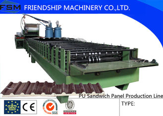 China Automatic Continuous PU Sandwich Panel Machinery With Non-stop Cutting Device supplier