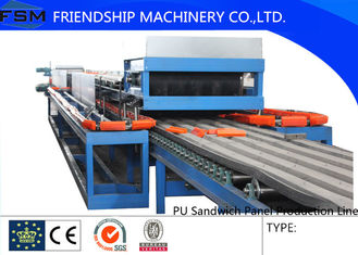 Automatic Continuous PU Sandwich Panel Production Line For 25mm - 100mm Thickness PU Foam