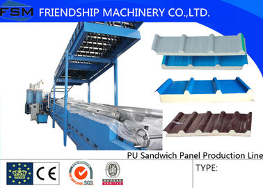 Colored Steel PU Sandwich Panel Production Line , Roof Panel Roll Forming Machine