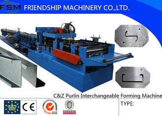 15KW main power C Z Purlin Roll Forming Machine With Hydraulic / Manual Decoiler