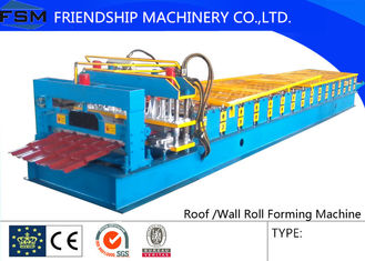 China Chain Drive Hydraulic Cutting Glazed Tile Roll Forming Machine Steel/Aluminum supplier