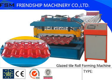 PLC Control , 45# Forge Steel , Glazed Tile Roll Forming Machine Driven By Chain