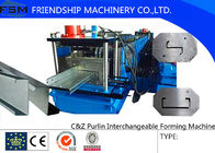 15-20 MPa Hydraulic Pressure C Z Purlin Roll Forming Machine With Transmission