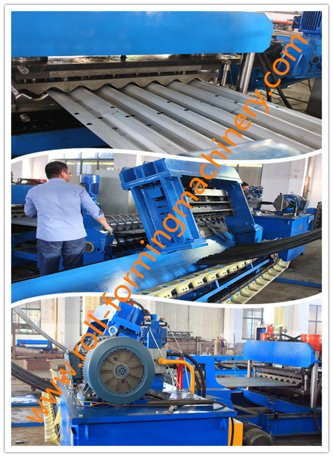 Hydraulic Decoiler Corrugated Sheet Roll Forming Machine With 6 m/min - 15 m/min